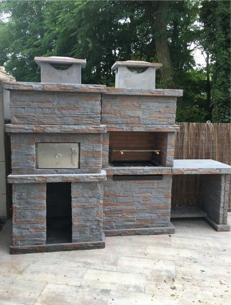 Hornos y barbacoas barbacoa de piedra con horno y fregadero pr4740f - Barbacoas con fregadero ...